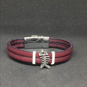 "Jewelry - 7.25"" Dual Strap Magnetic Clasp Bracelet Fishbone"